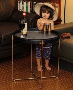 Safari round wine table cognac faux croc leather