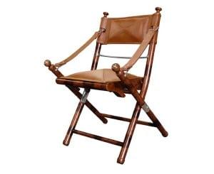 leather safari folding chair