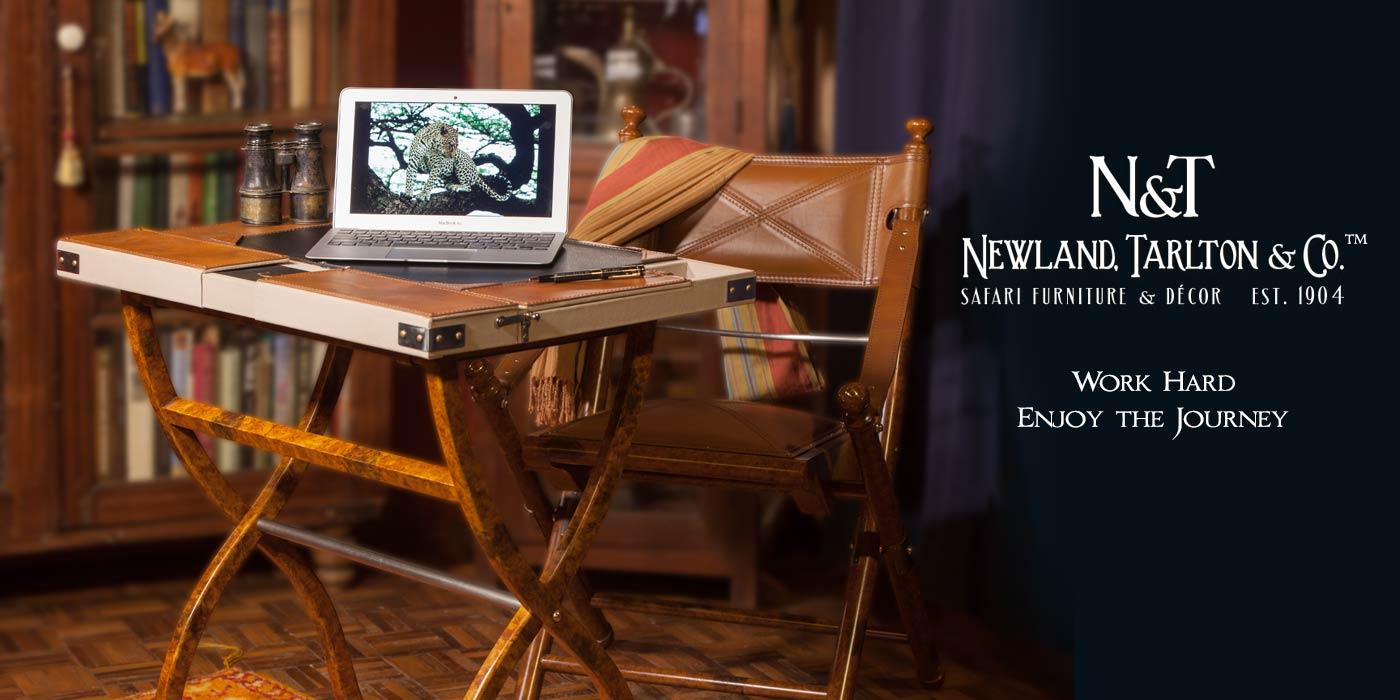Safari computer desk and leather folding chair