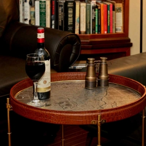 Safari Wine Table - Cognac Leather