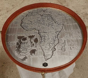 safari wine table with africa map