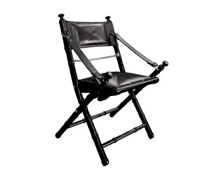Folding Campaign Chair Ebony Black, Folding Leather Campaign Chair