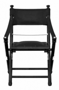 black safari folding chair in leather