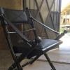 black leather safari folding chair